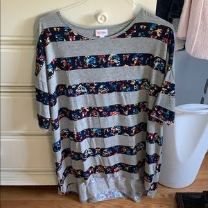 LuLaRoe XL Gray and Navy Blue Floral Striped Irma